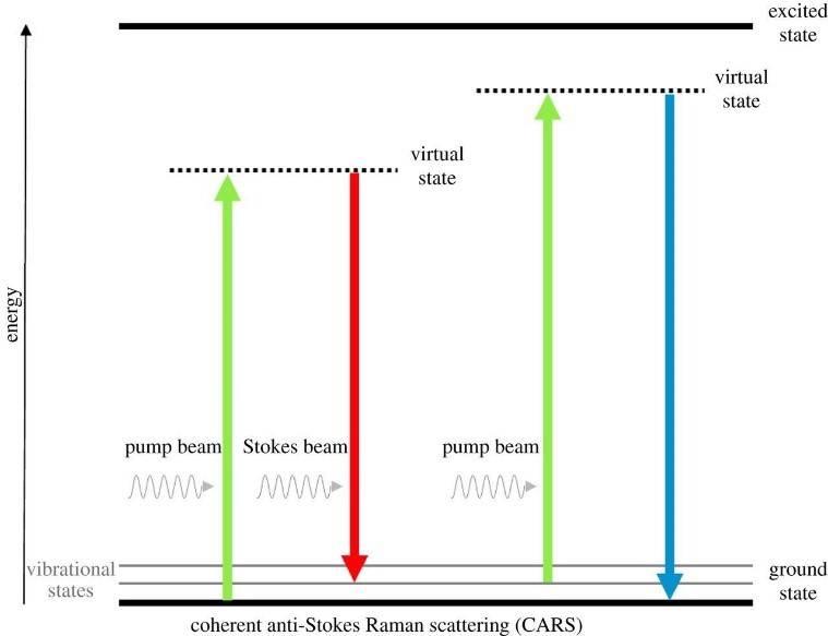 شماتیک انتقال انرژی درگیر در پراکندگی رامان ضد استوکس همدوس